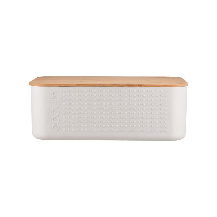 Boite à pain blanche avec couvercle planche en bambou 14 x 19 x 29 cm - Bodum