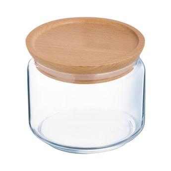 Achat en ligne Bocal en verre avec couvercle en bois 0,5L 10,5x10,5x8cm - Luminarc