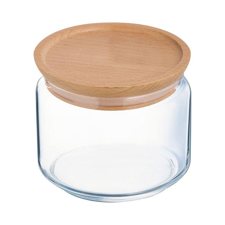 Bocal en verre avec couvercle en bois 0,5L 10,5x10,5x8cm - Luminarc