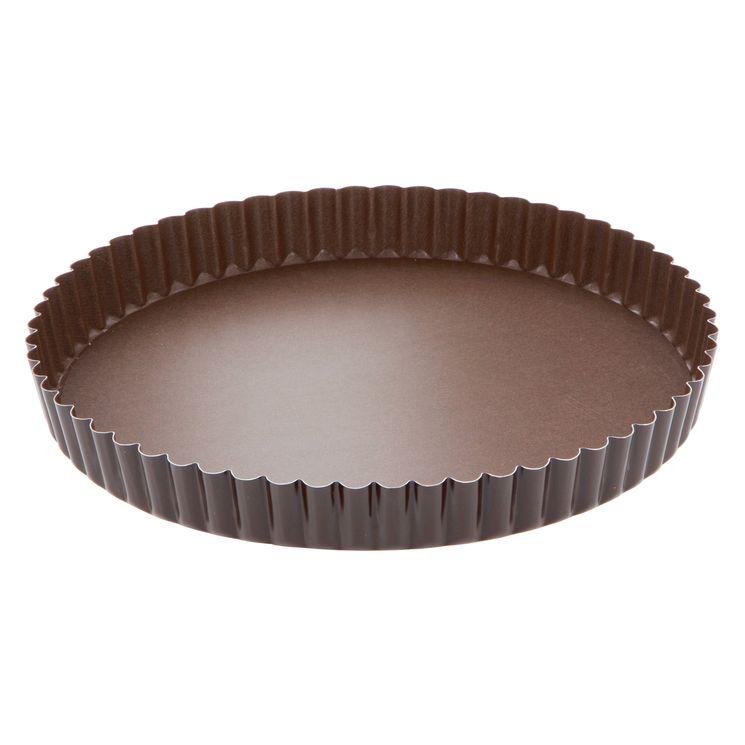 Moule à tarte rond cannelé marron anti adhérent avec fond amovible 24 cm hauteur 2.5 cm - Gobel