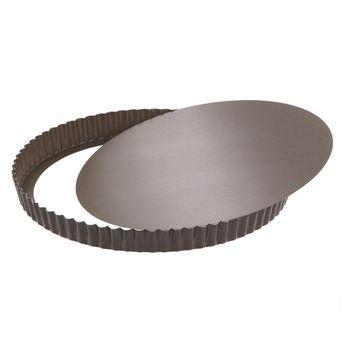 Achat en ligne Moule à tarte rond cannelé marron anti adhérent avec fond amovible 28 cm hauteur 2.5 cm - Gobel