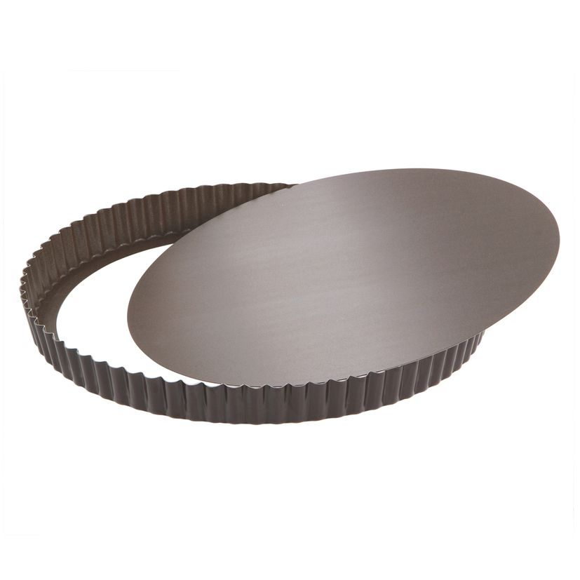 Moule à tarte en métal anti adhérent avec fond amovible 8/10 parts 28 cm - Alice Délice