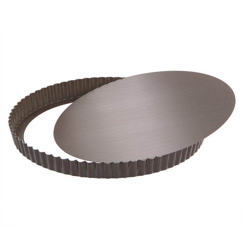 Moule à tarte rond cannelé marron anti adhérent avec fond amovible 28 cm hauteur 2.5 cm - Gobel