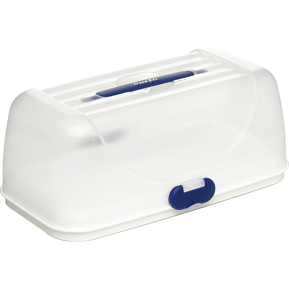 Boite de transport à gâteau rectangulaire en plastique blanc et bleu Superline Party Box 20.5 x 28 x 35 cm - Emsa