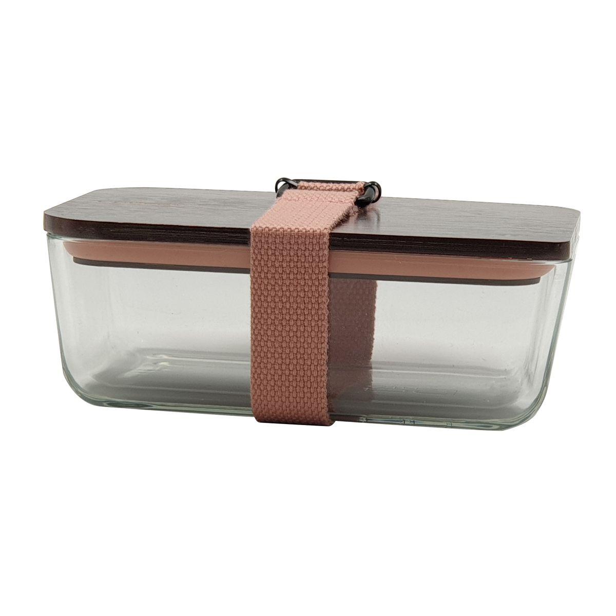 Lunch box rose en verre couvercle bambou 6.5 x 11.7 x 17.5 cm - Cookut