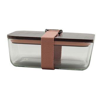 Achat en ligne Lunch box rose en verre couvercle bambou 6.5 x 11.7 x 17.5 cm - Cookut