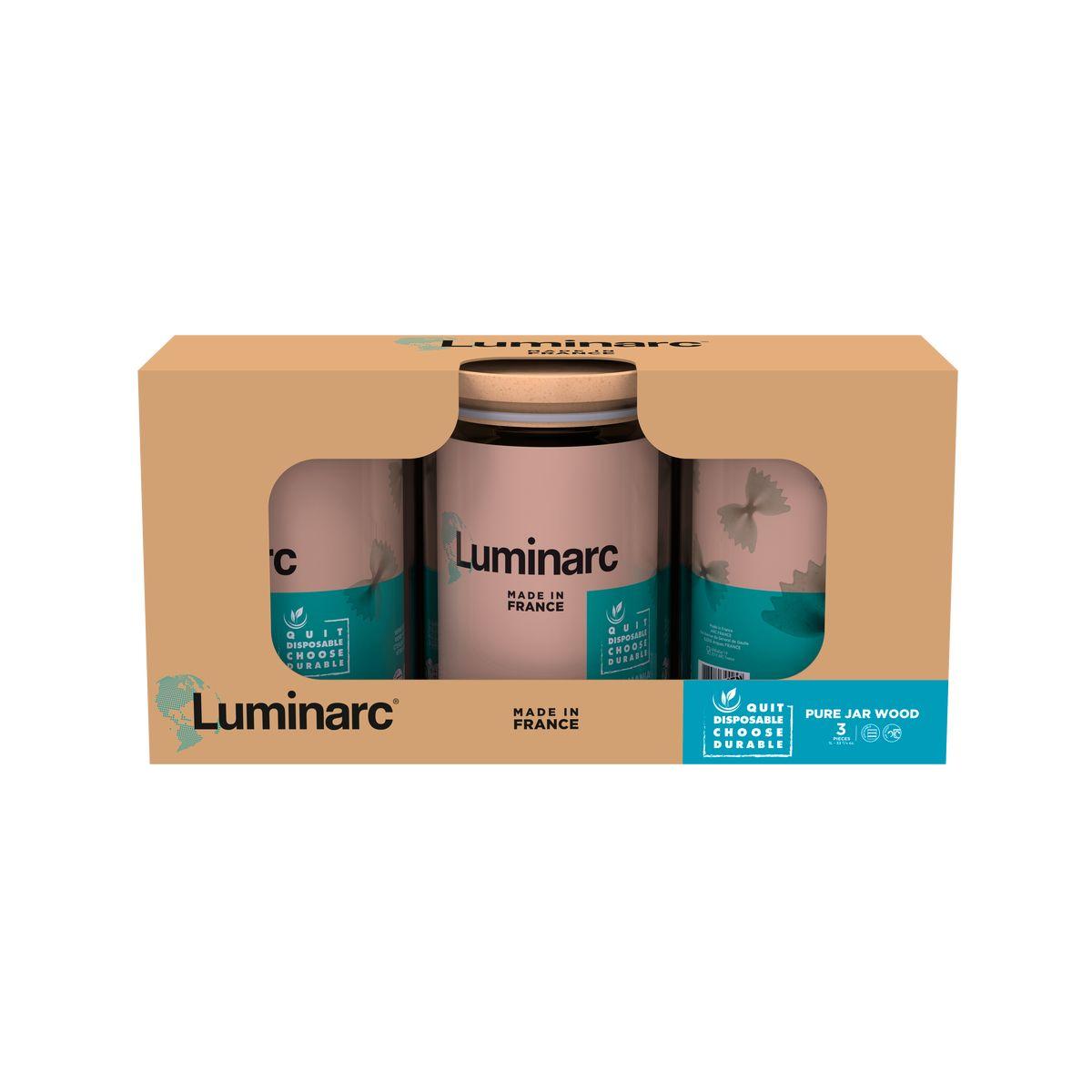 Coffret 3 boîtes de conservation en verre avec couvercle en bois 11 x 11 x 14 cm 1 l - Luminarc