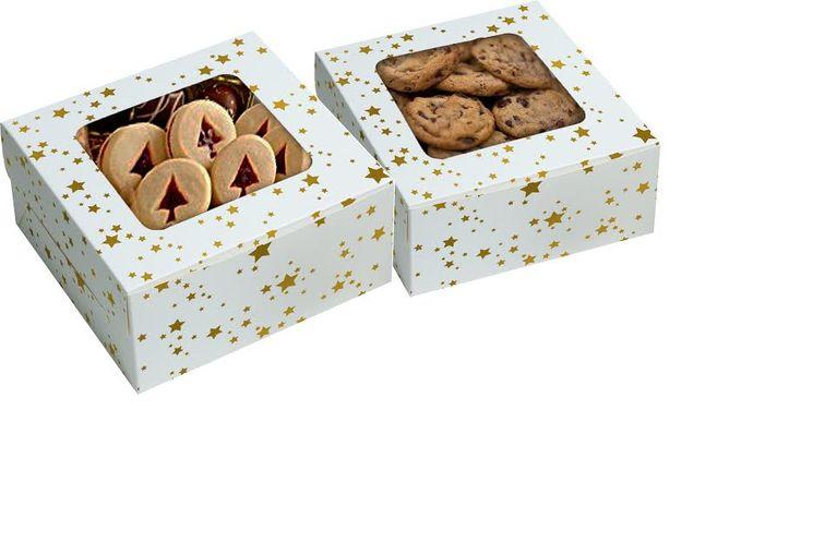 Boîte à biscuits carré en carton blanche étoiles dorées 7.5 x 16 cm - Anniversary House