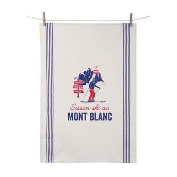 Achat en ligne Torchon Session ski au Mont Blanc 55x80 cm 100% coton - Tissage de L´Ouest