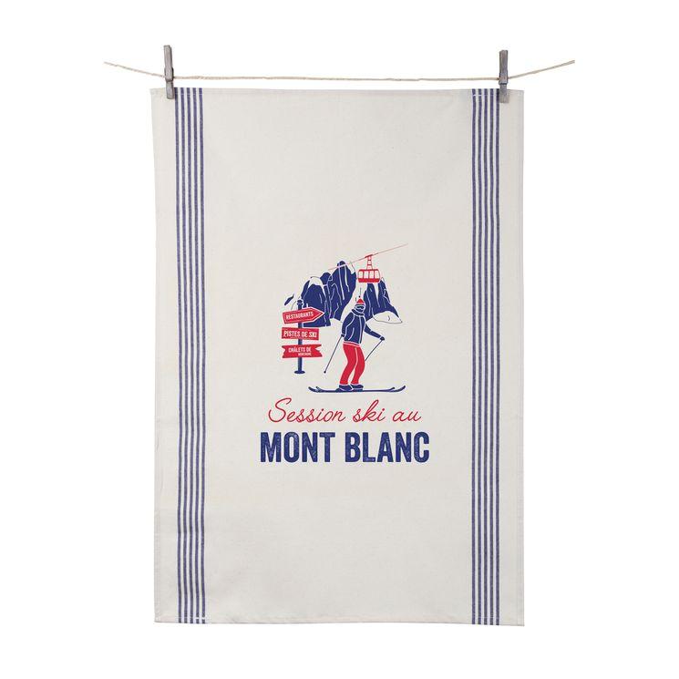 Torchon Session ski au Mont Blanc 55x80 cm 100% coton - Tissage de L´Ouest