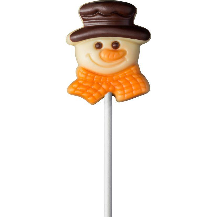 Sucette Bonhomme de neige chocolat blanc 15g