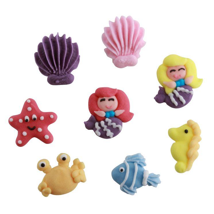 Plaque 8 décors en sucre thème sirène : 2 coquillages. 2 sirènes.poisson. crabe. étoile de mer et hippocampe - Alice Délice