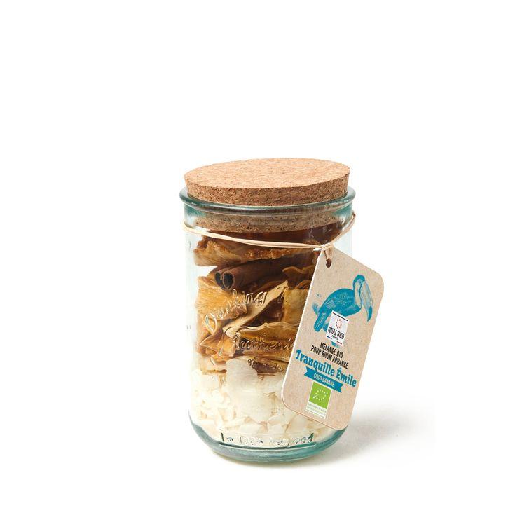 Mélange bio pour rhum arrangé en tumbler en verre recyclé Tranquille Emile coco banane 110g - Quai Sud