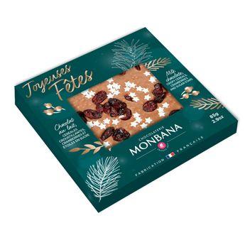 Achat en ligne Tablette message joyeuses fetes chocolat lait 85g - Monbana
