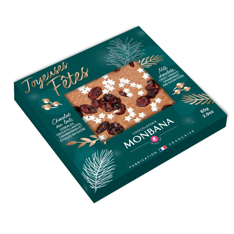 Tablette message joyeuses fetes chocolat lait 85g - Monbana