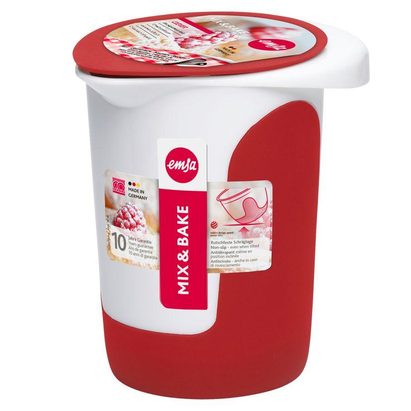 Bol de préparation Mix & Bake avec couvercle blanc et rouge 1 l - Emsa