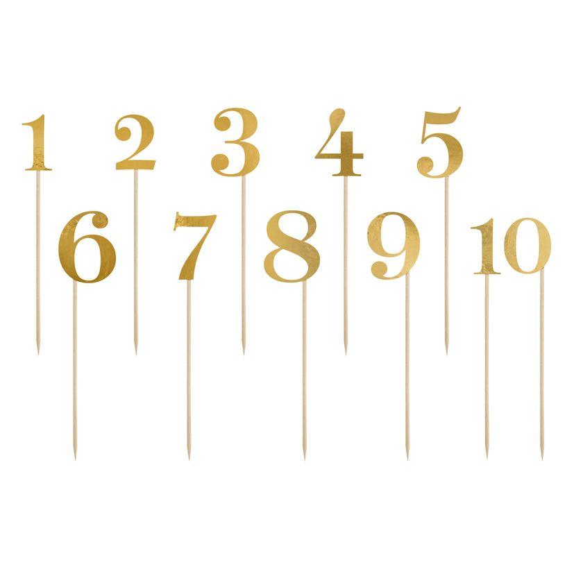 Décor de gâteau : 11 chiffres dorés 26 cm - Party Deco