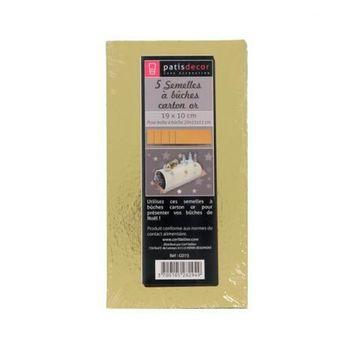 Achat en ligne 5 supports à gâteaux rectangulaires dorées 19 x 10 cm - Patisdecor