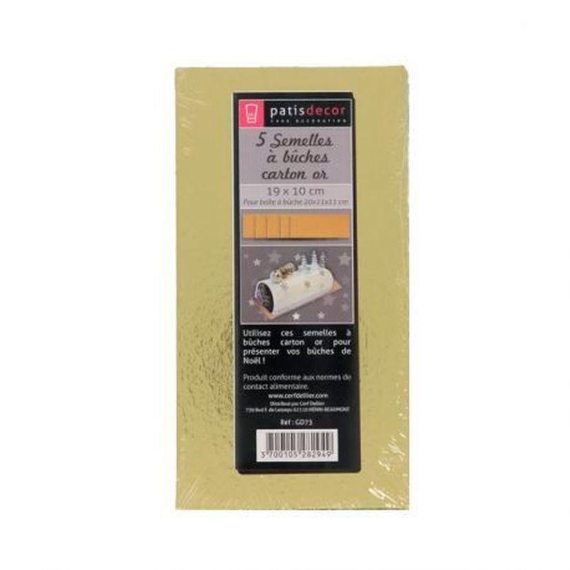 5 supports à gâteaux rectangulaires dorées 19 x 10 cm - Patisdecor