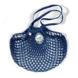 Filets à provisions anses longues en coton bleu encre 40cmx70cm - Filt