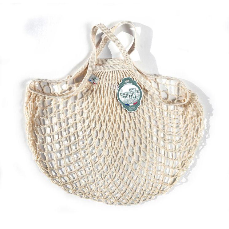 Filets à provisions anses courtes en coton ecru 40cmx40cm - Filt