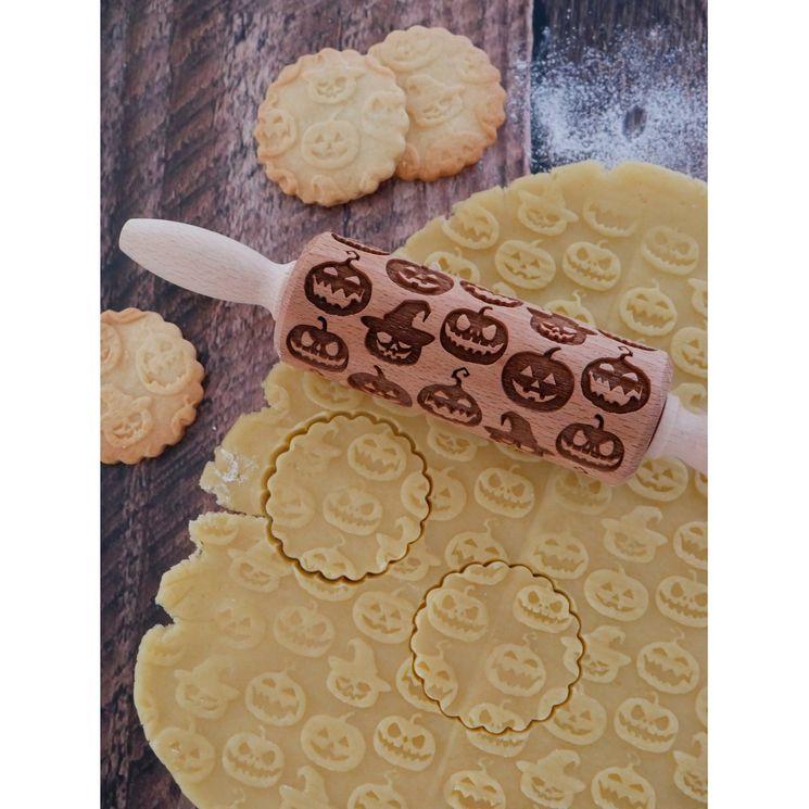 Rouleau à empreintes en bois citrouille Halloween 11 cm - Alice Délice