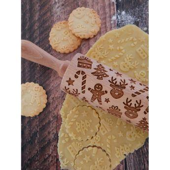Achat en ligne Rouleau à empreintes en bois Noël traditionnel 25 cm - Alice Délice