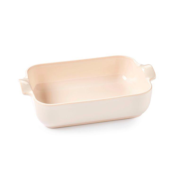 Plat à four rectangulaire avec anses en céramique ivoire 25 cm - Esprit de cuisine