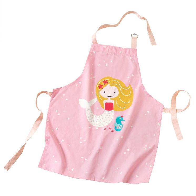 Tablier enfant en coton sirène 55 x 65 cm