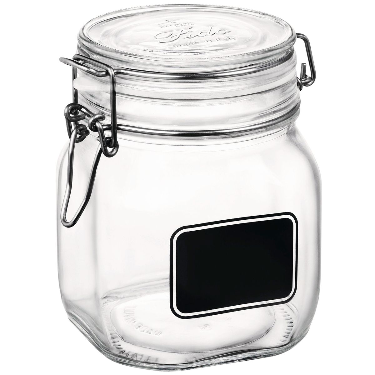 Bocal de conservation en verre avec etiquette 75 cl - Bormioli
