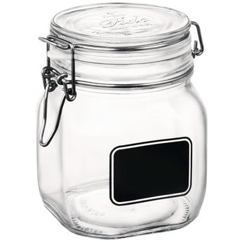 Achat en ligne Bocal de conservation en verre avec etiquette 75 cl - Bormioli