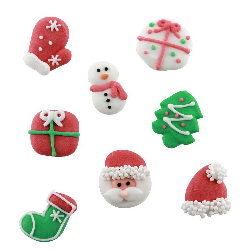 Plaque de décors comestibles : 8 décors rouges, blancs et verts traditionnels Noël