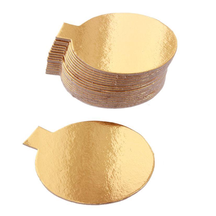 20 supports à gâteaux individuels ronds dorées 8cm - Gatodeco