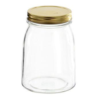 Achat en ligne Bocal en verre couvercle doré 1l - Borgonovo