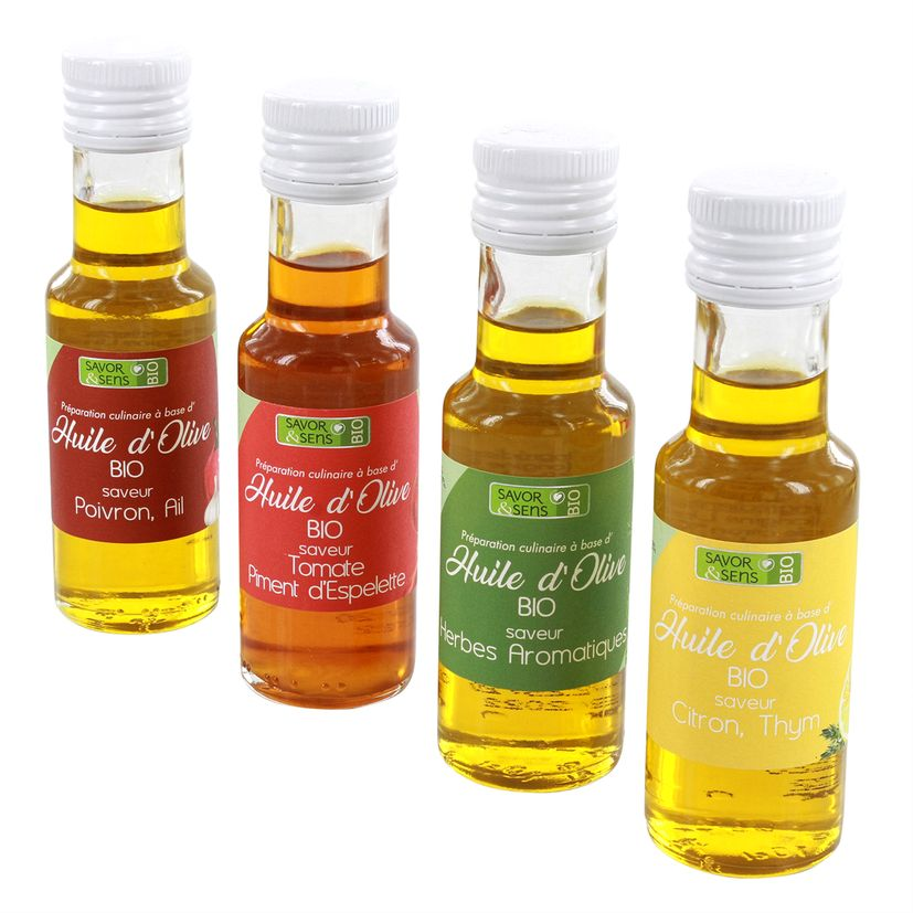 Coffret 4 huiles olive bio - Savor et Sens