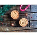 Tampon à biscuits en bois 4 dessins traditionnels Noël