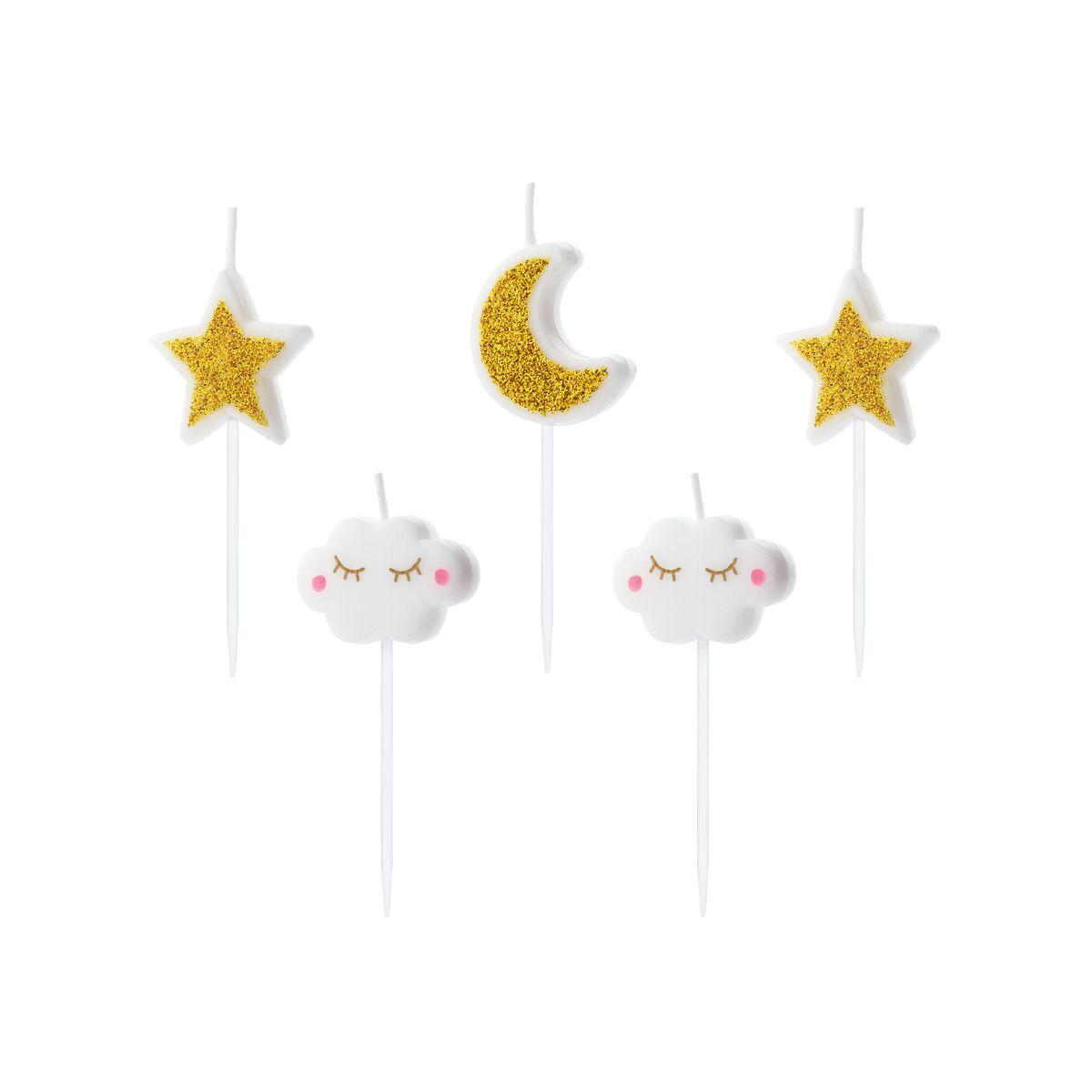 5 bougies : 2 nuages, 2 étoiles et 1 lune 2,5 cm - Party Deco