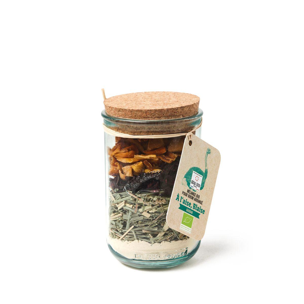 Mélange Bio pour Rhum arrangé en tumbler en verre recyclé A l´aise Blaise Baobab 100g - Quai Sud