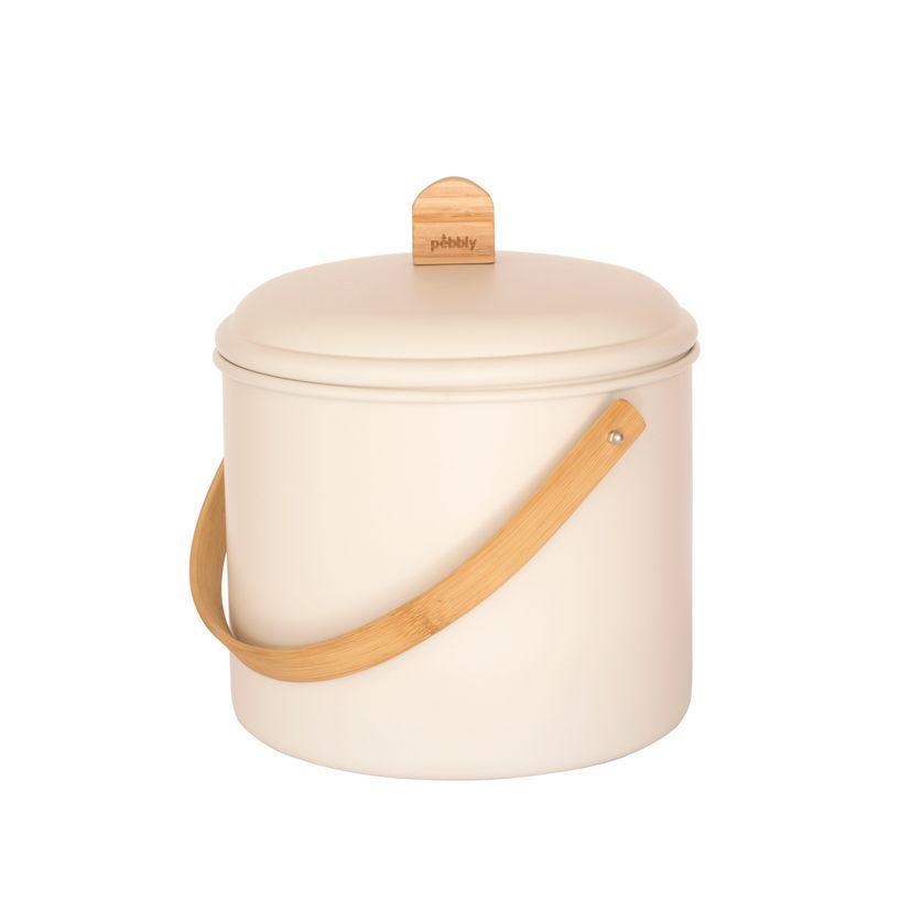 Seau à compost 7L métal/bambou avec filtre charbon - Pebbly