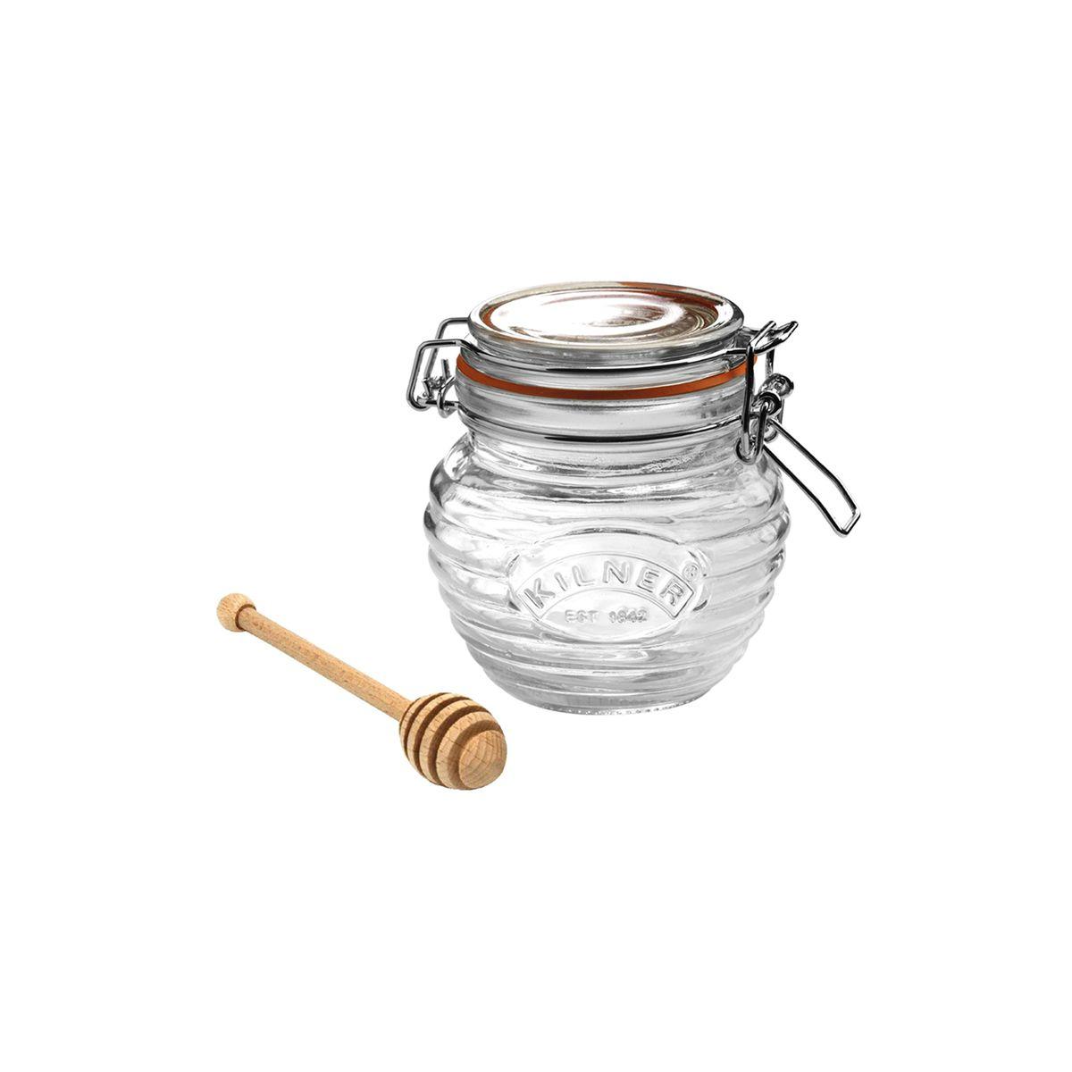 Pot à miel en verre avec cuillère en bois - Kilner
