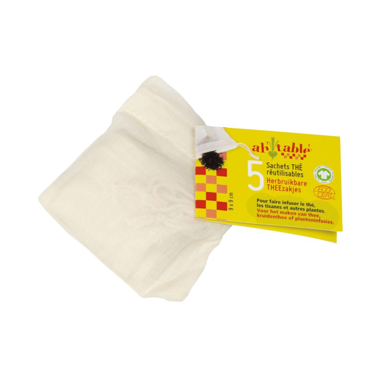 5 filtres à thé en coton bio réutilisables - Ah! Table!