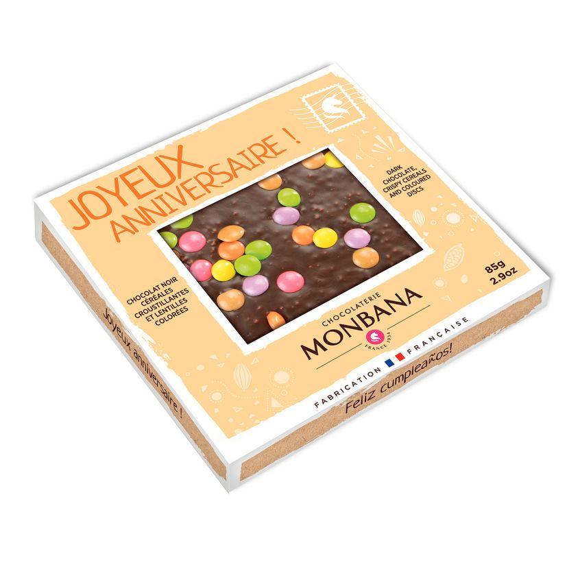 Tablette de chocolat noir croustillant 85g - Monbana