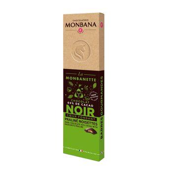 Achat en ligne Barre de chocolat noir fourré au praliné noisettes 40g - Monbana