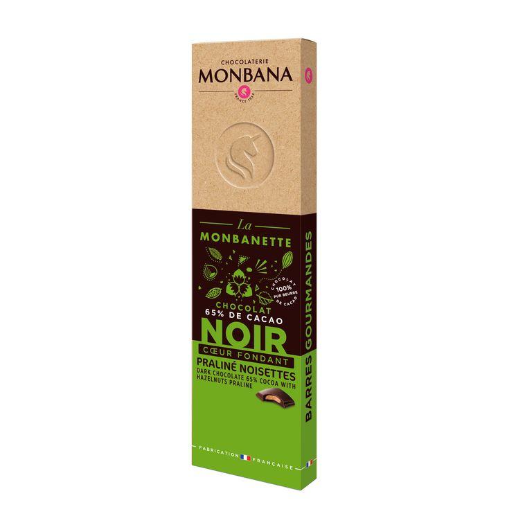 Barre de chocolat noir fourré au praliné noisettes 40g - Monbana