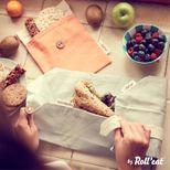 Sac à sandwich Boc'n'roll gris coton bio - Roll Eat