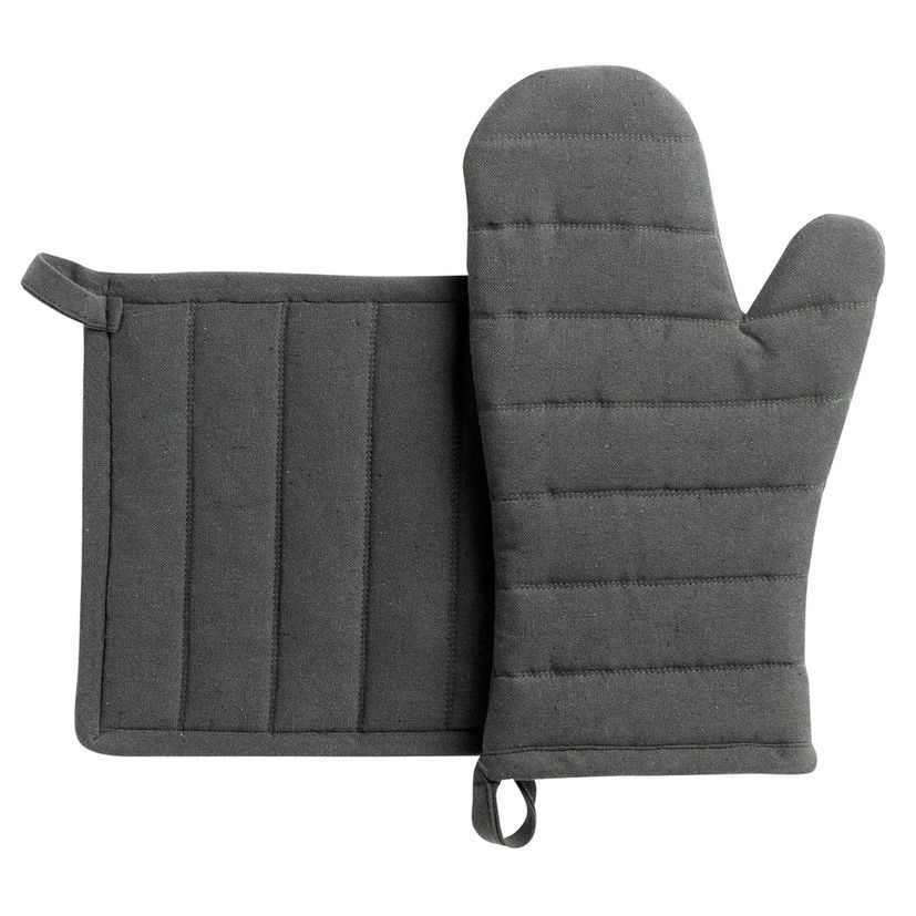 Lot de gants et maniques en coton recyclé gris - Winkler