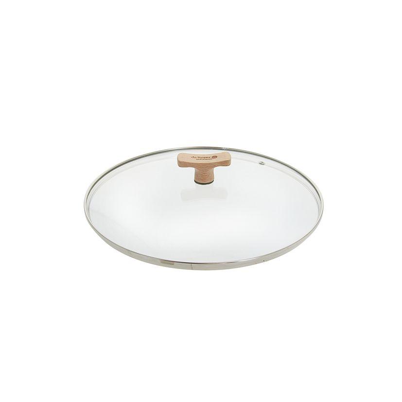 Couvercle en verre avec bouton en bois diamètre 20 cm - De Buyer
