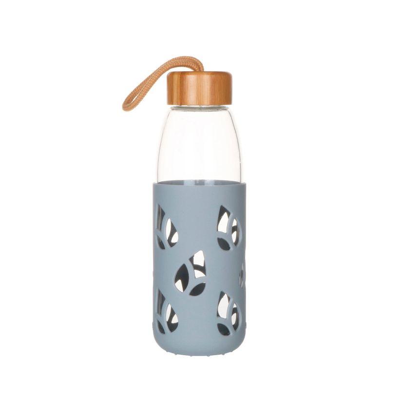 Bouteille en verre et silicone nomade 55 cl - gris - Pebbly