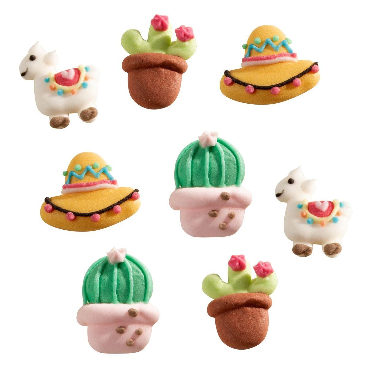 Plaque de décors : 8 décors en sucre thème mexicain : cactus, lama, chapeau et cactus - Alice Délice