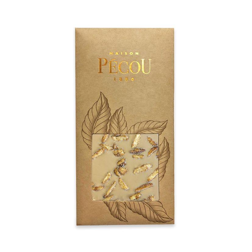 Tablette de chocolat blanc au caramel aux inclusions d'amandes salées - Pecou